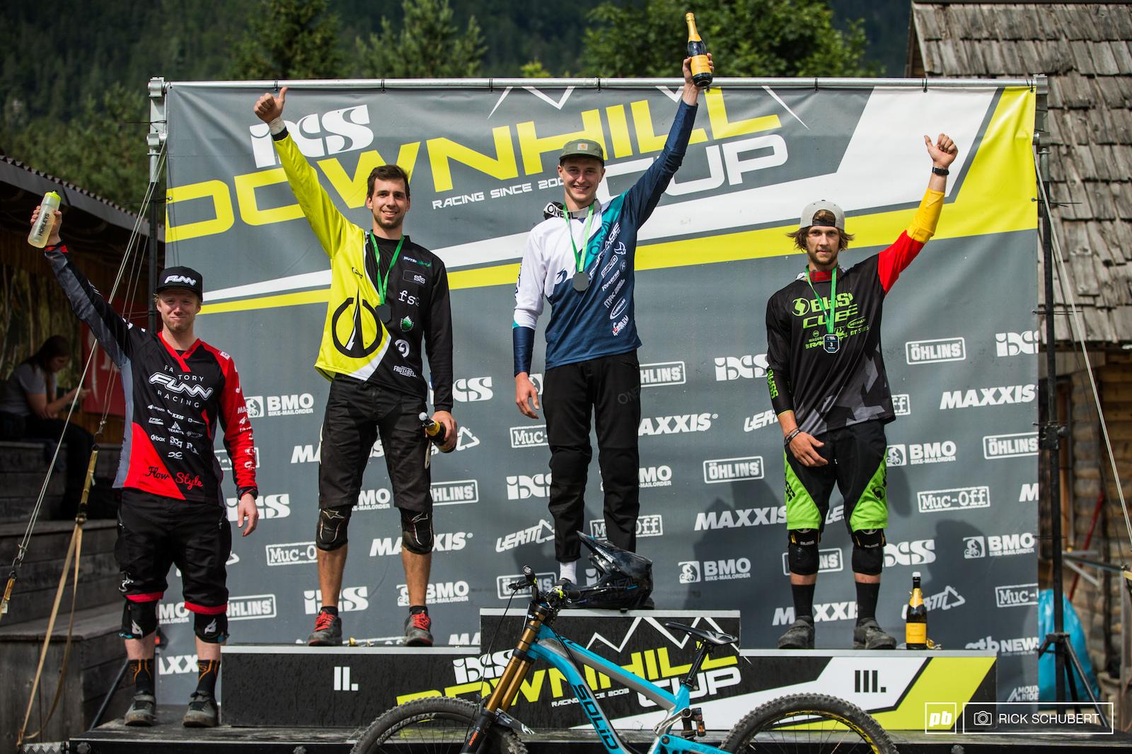 Elite men podium with Bryn Dickerson Luka Berginc Joshua Barth and Max Hartenstern