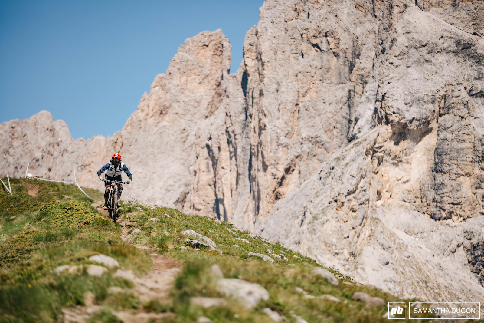 Incase you had no context for the size of the mountains in the Dolomites here s a mountain biker for scale.