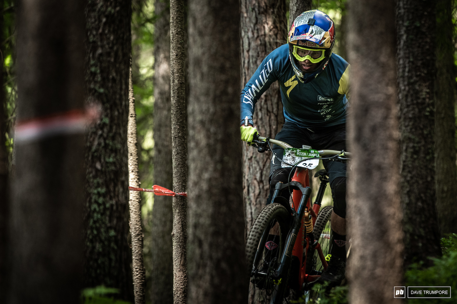 Curtis Keen navigates the tight trees at the top of Stage 1.