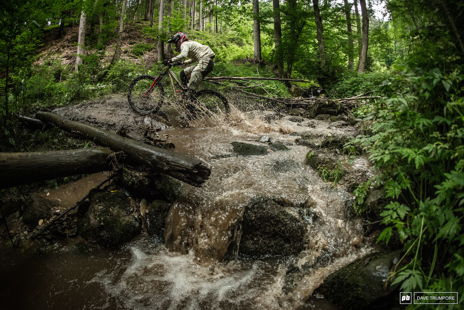 Making her own rapids through the river en route to three stage wins on the day for Cecile Ravanel.
