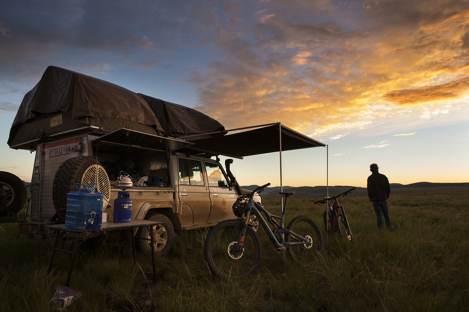 Matt Hunter with locals Hylton Turvey and Fanie Kok riding in the trails of Karkloof and Drakensberg in South Africa.