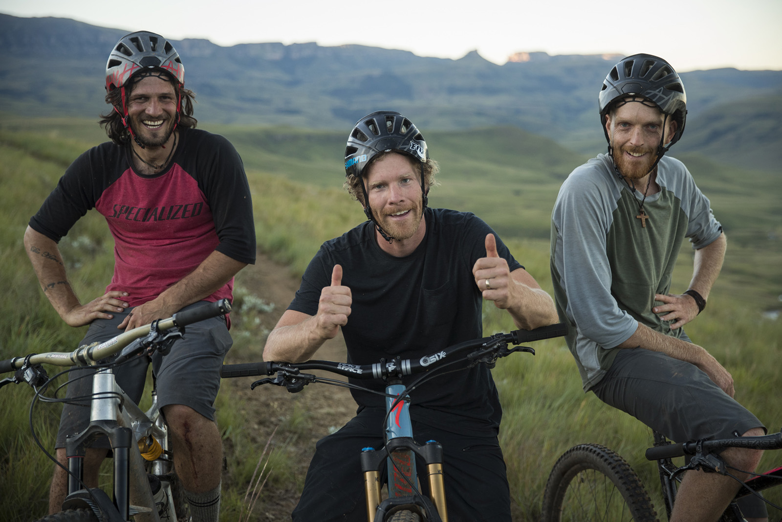 Matt Hunter rides with locals Hylton Turvey and Fanie Kok on the trails in the Karkloof and Drakensberg Range of South Africa