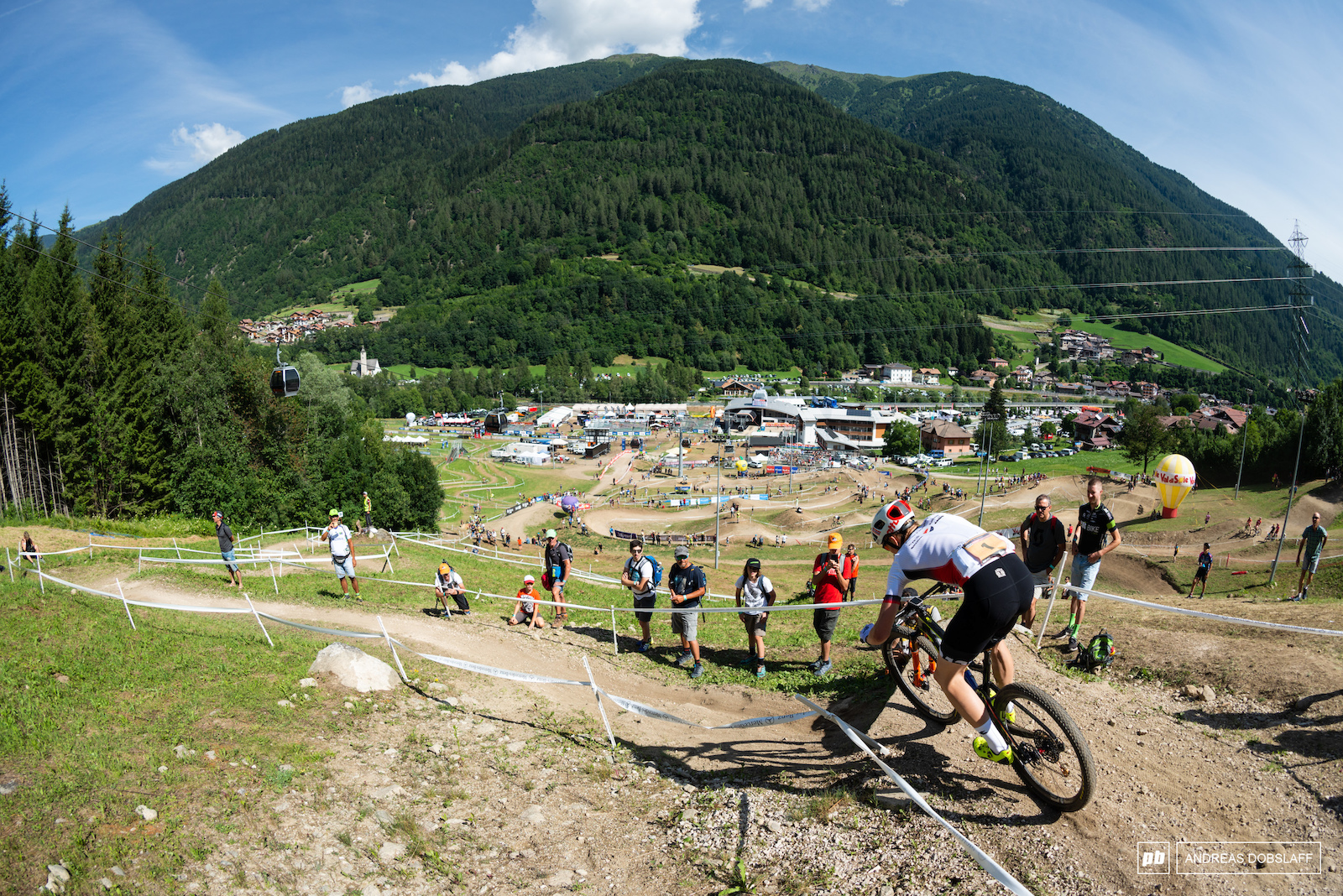 Petter Fagerhaug dropping down into Val di Sole Bike Land