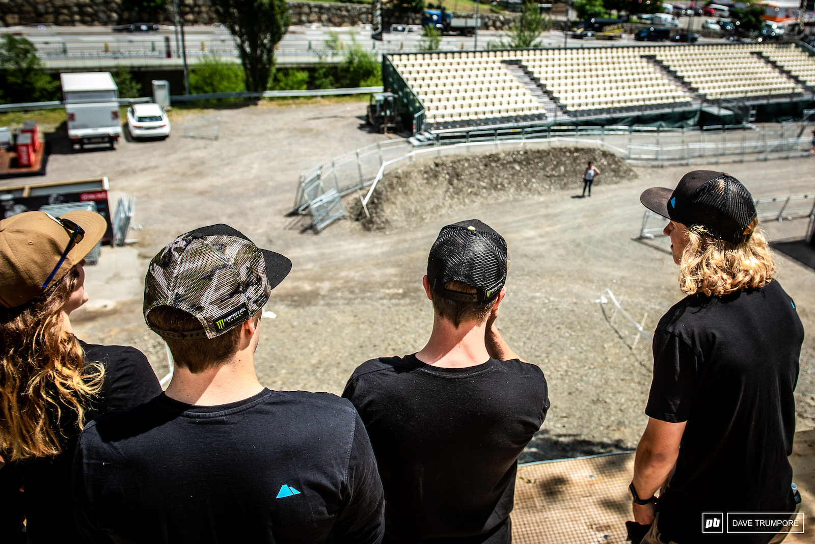 Troy Brosnan Mark Wallace Kye amp Sian A Hern all having a look at the final to nearly flat and the finish line corner. Rumor has it the corners just above this will be tightened up a bit to slow riders down a bit so they can actually stay on the sloped landing.