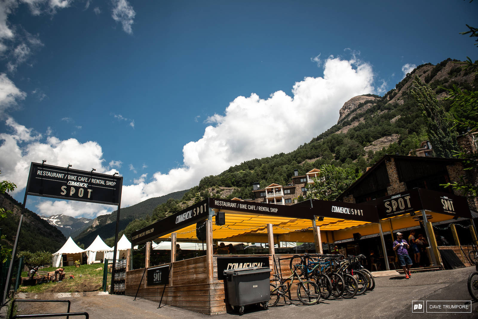 With their global headquarters a kilometer up the road it doesn t get any closer to home than this for Commencal. And once again they have pulled out all the stops with their restaurant bar and party SPOT right across from the finish line.