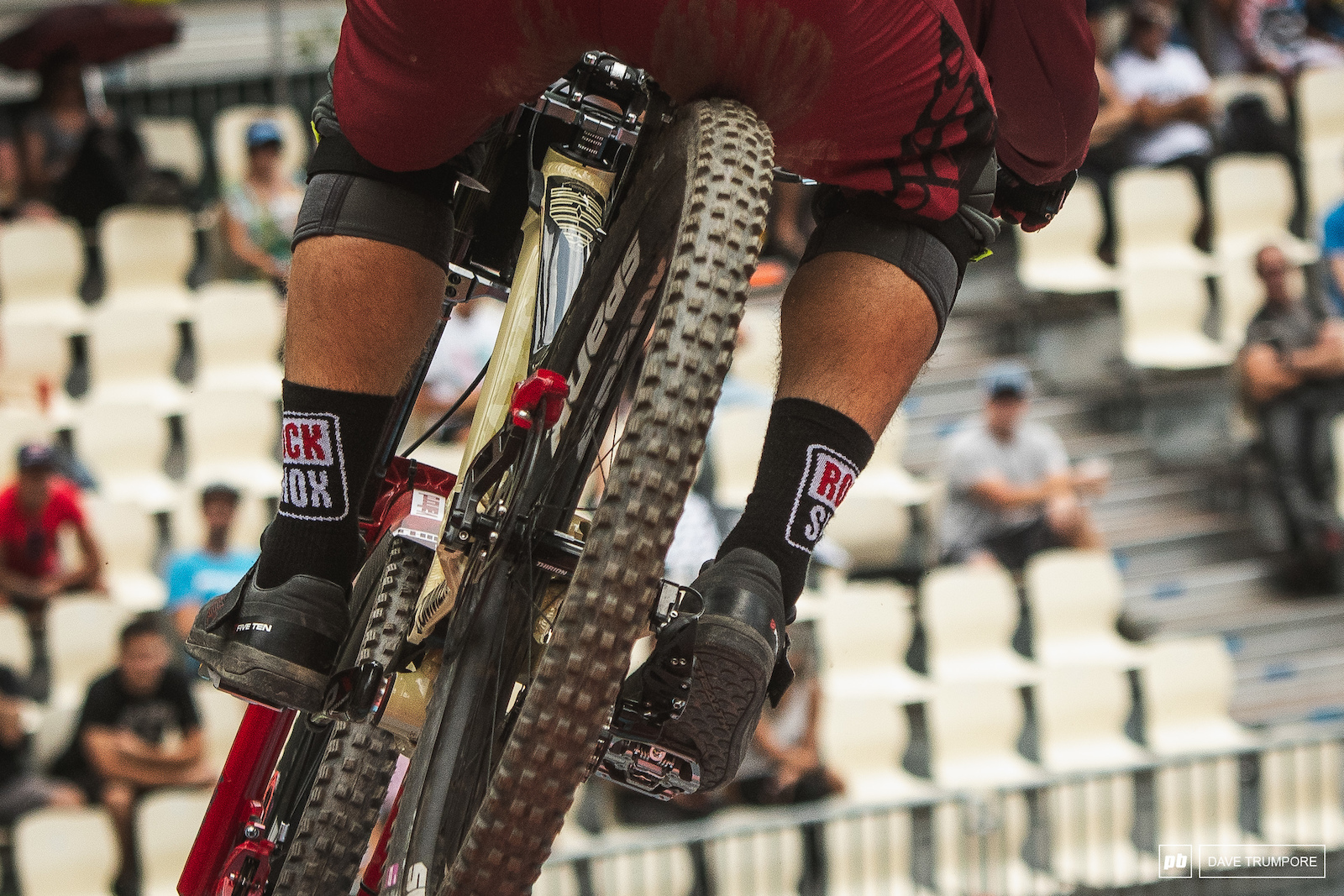 It takes every available inch of travel in the legs as well as the suspension to squash the final drop at race speed.