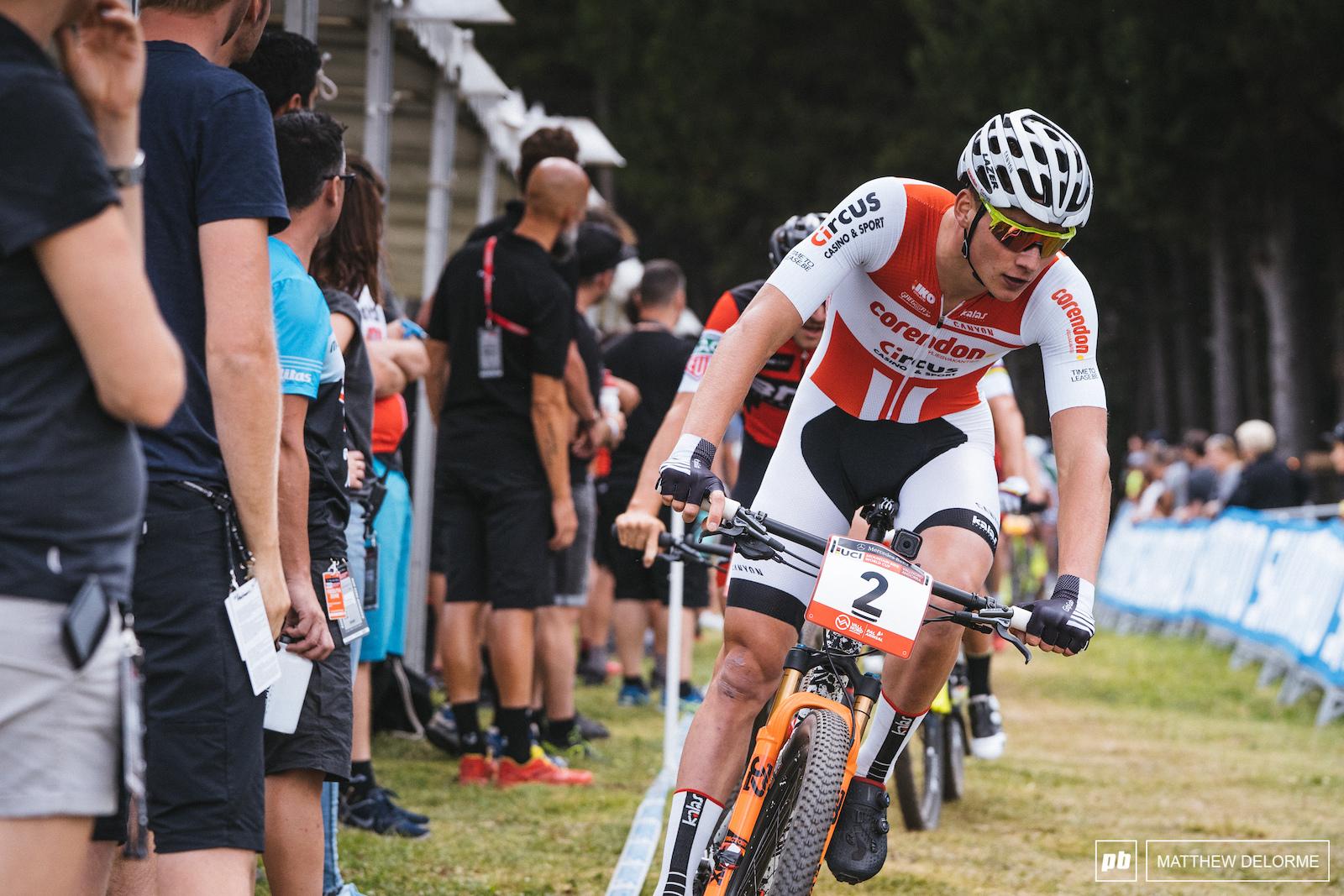 Mathieu van der Poel takes second.