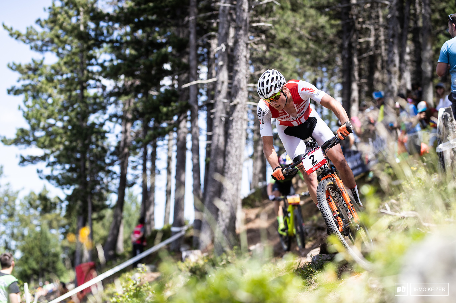 Mathieu van der Poel second in the overall did not come close to challenging Schurter or Kerschbaumer today. Riding his own pace the Dutchman finished third.
