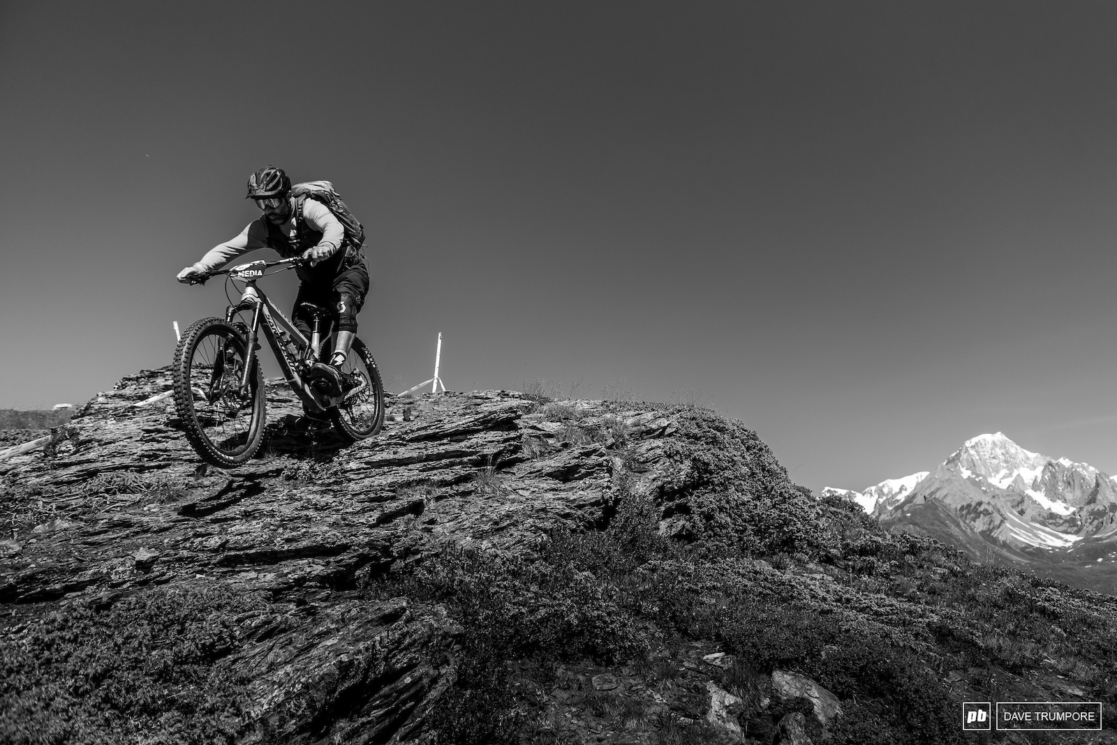 Stage 1 drops in of a rocky ledge once again with Mont Blanc in the background.