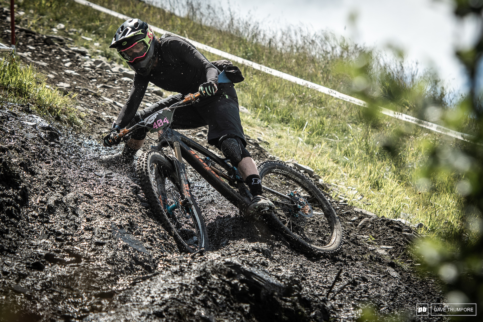 Katherine Sharp finding the limit of traction on the only patch of mud in all of La Thuile today.