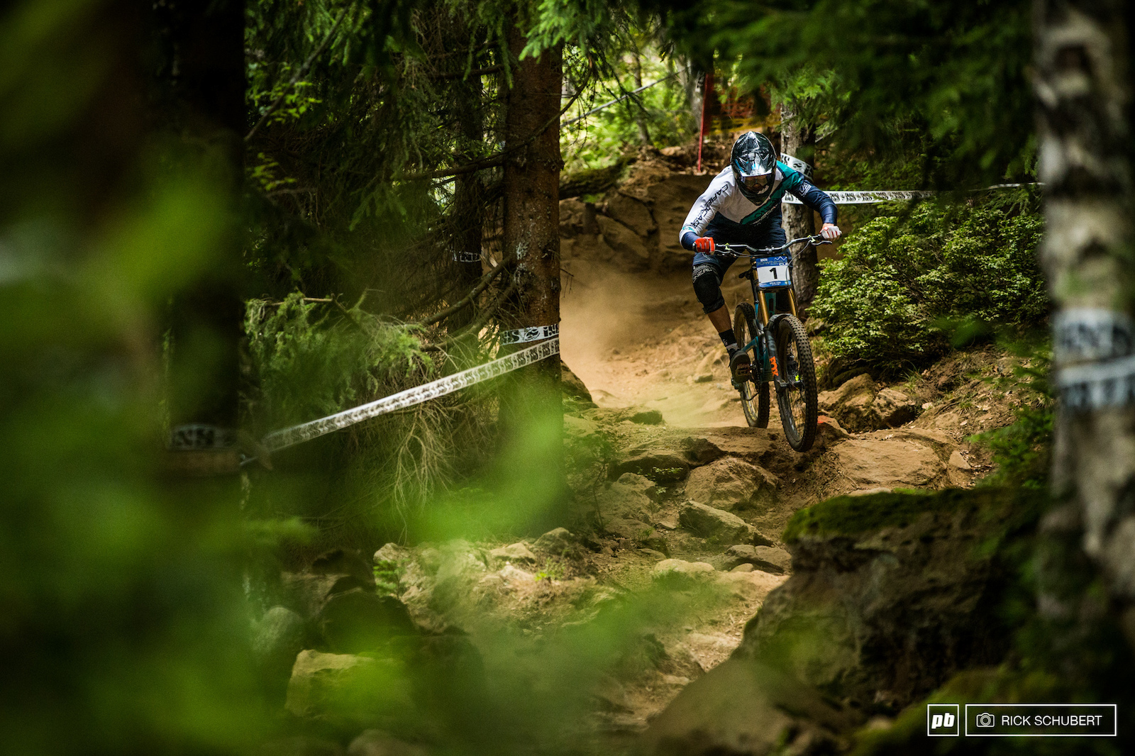 Joshua making his way through the gnarly rock sections at the iXS European DH Cup in Spicak