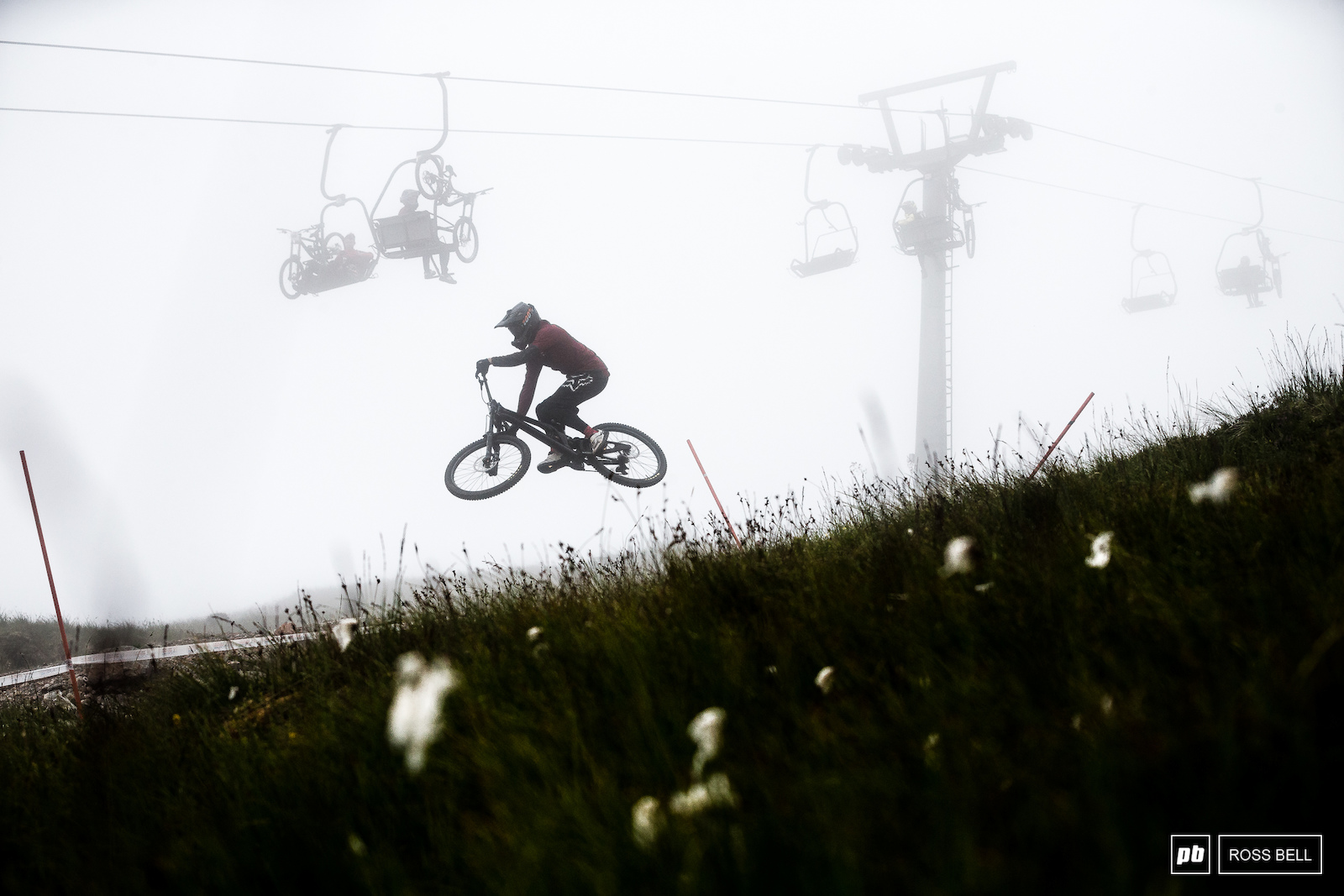Sunday morning started off shrouded in cloud. Greg Williamson keeps it low over the moorland.