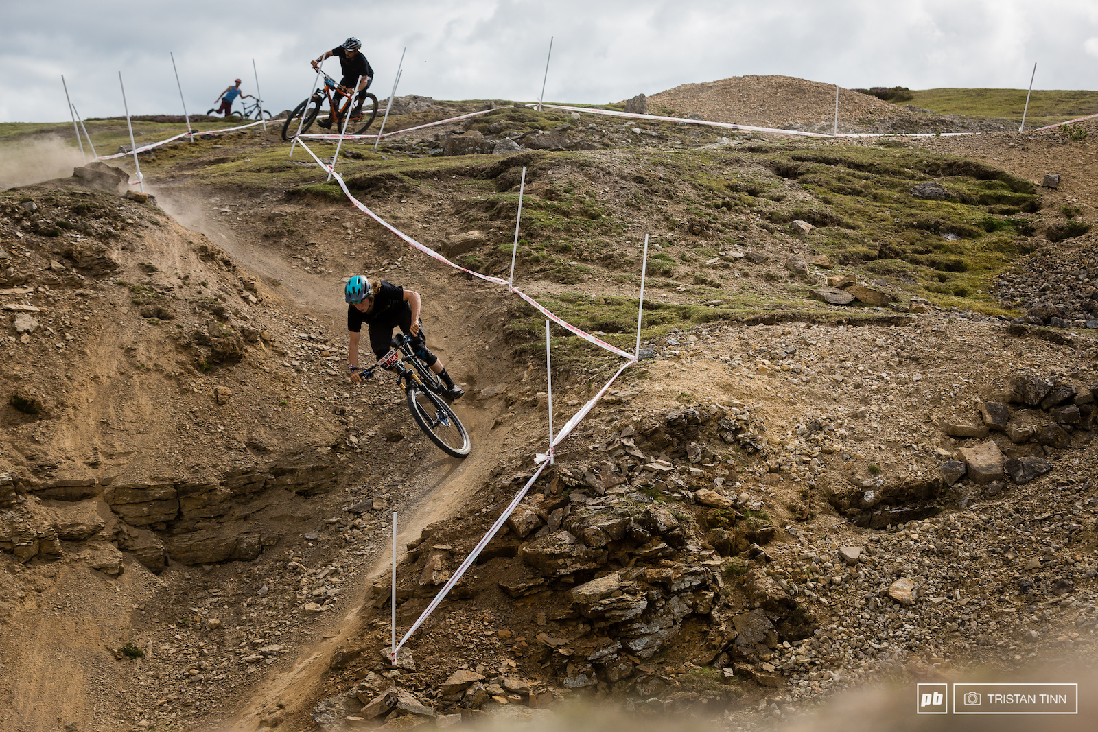Pace ambassadors Ben Smith-Price is chased by Wesley Bruney leaving a trail of roost on Stage 6