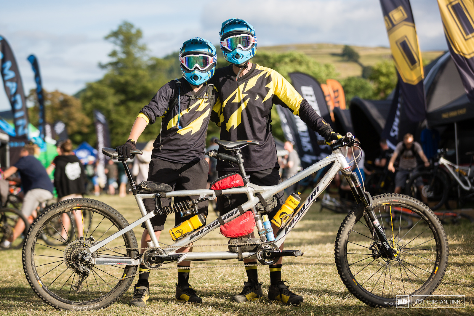 Guy and Freya Kestevan stole the show with his daughter on their Nicolai Helius AM 170 140 custom tandem. They mastered the swithcbacks and took to the skies on the jumps coming in with a 28 33 56 - just under 10 minutes back from Peaty s FTD. 50psi in two DH casing tyres kept the air beneath them despite all the rocks.
