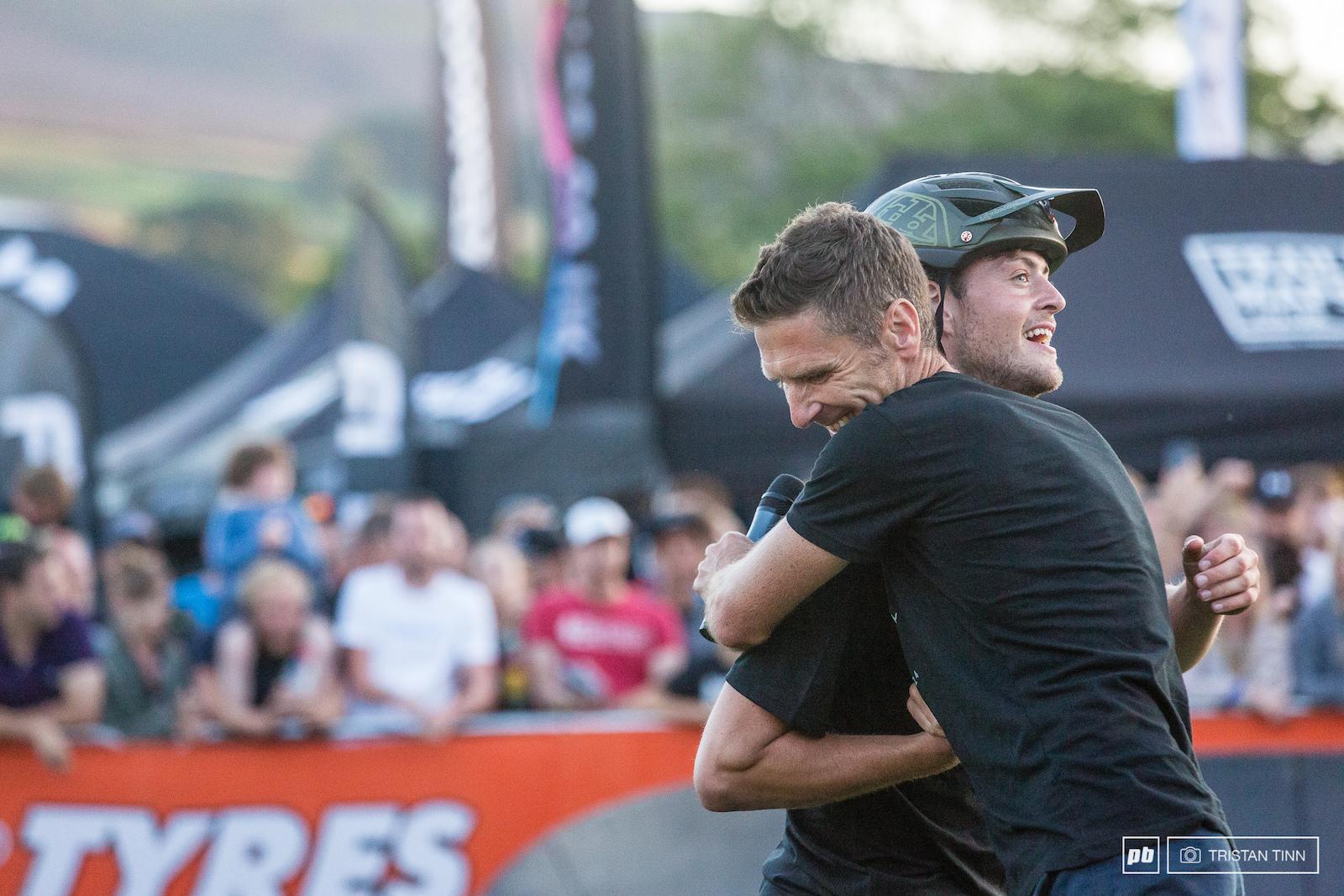 Jono Jones is congratulated on his 2nd year running as Ard Rock Pump Track Champion