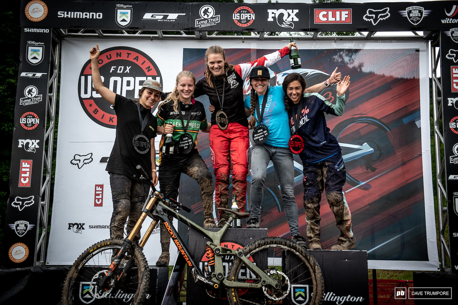 The fastest women at the 2018 Fox MTB US Open Downhill.