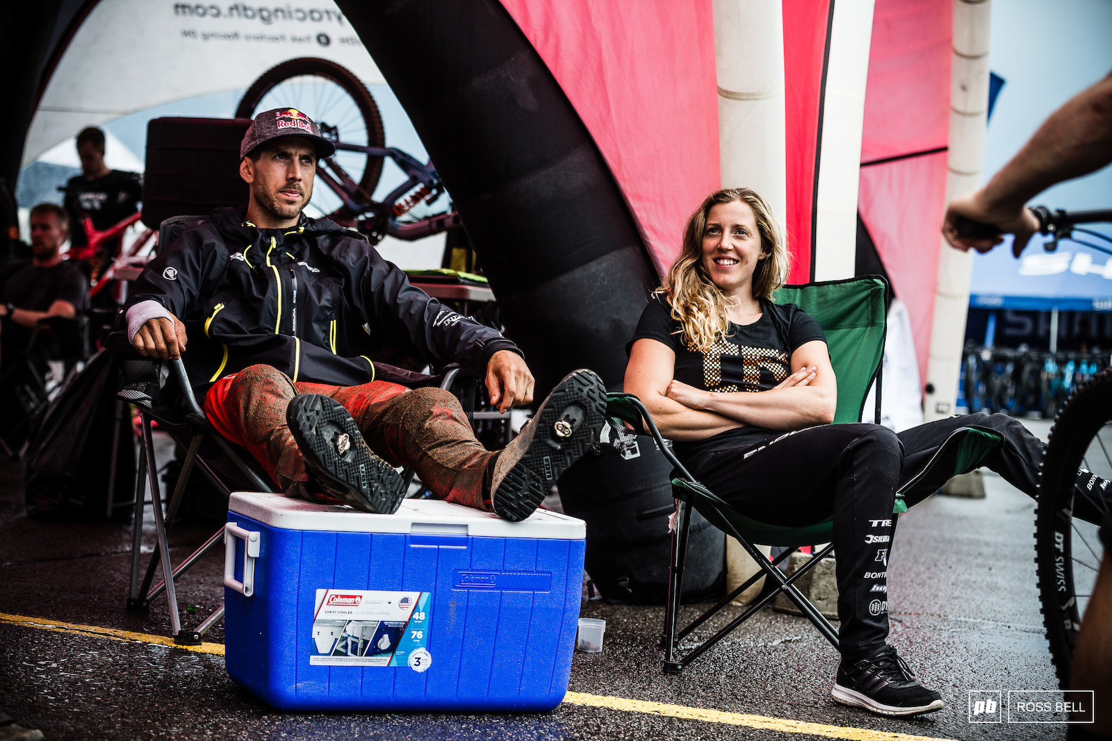 The Atherton siblings putting their feet up whilst waiting for the track to reopen.