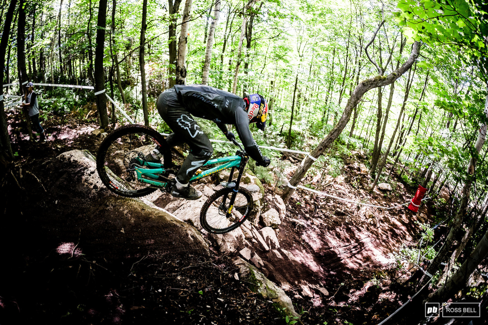 Finn Iles taking the leap off the new rock roll in the woods. The young Canadian is on good form on home soil coming in 9th.