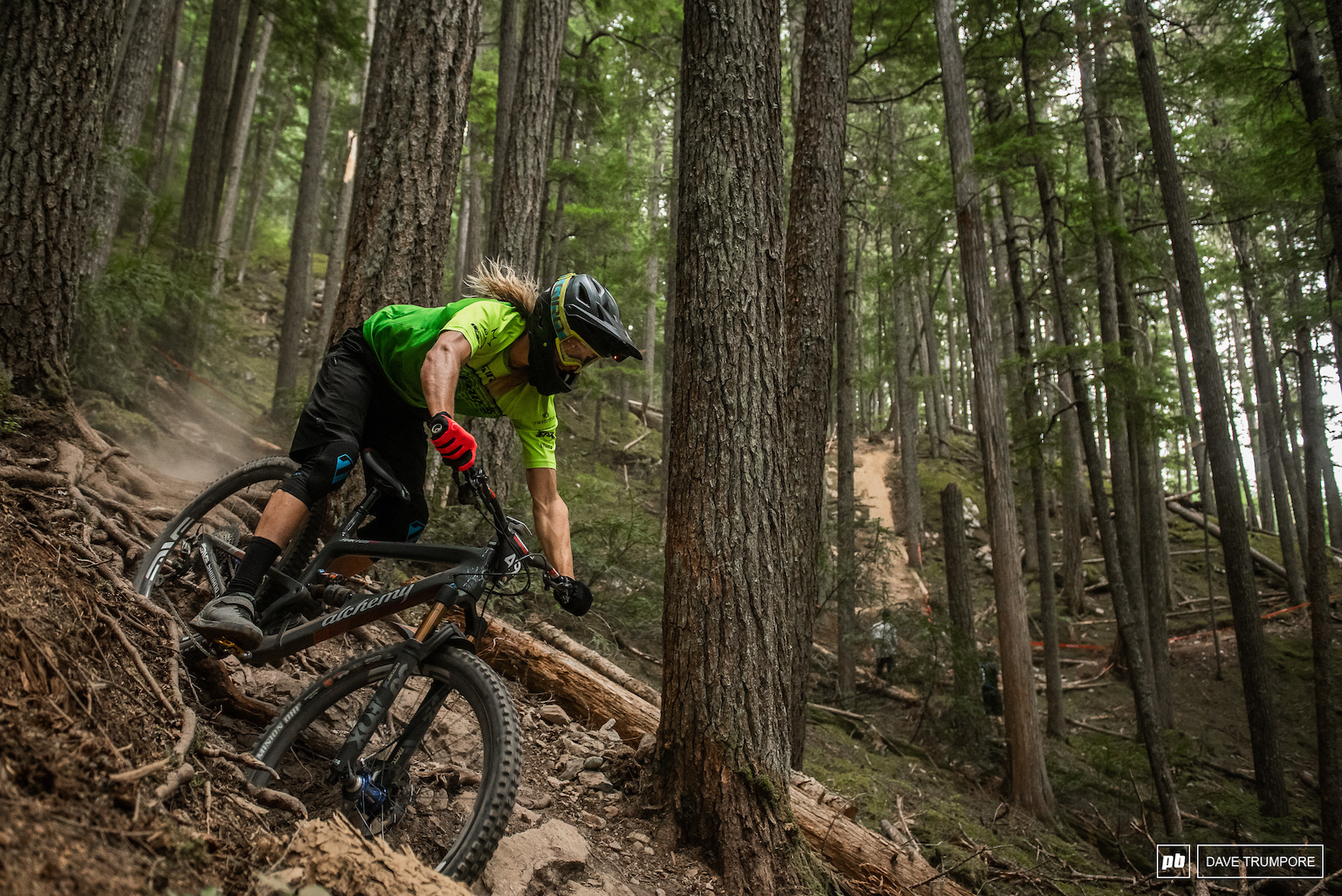 Cody Kelley is rallying around on a band new Alchemy 29er this week in Whistler.
