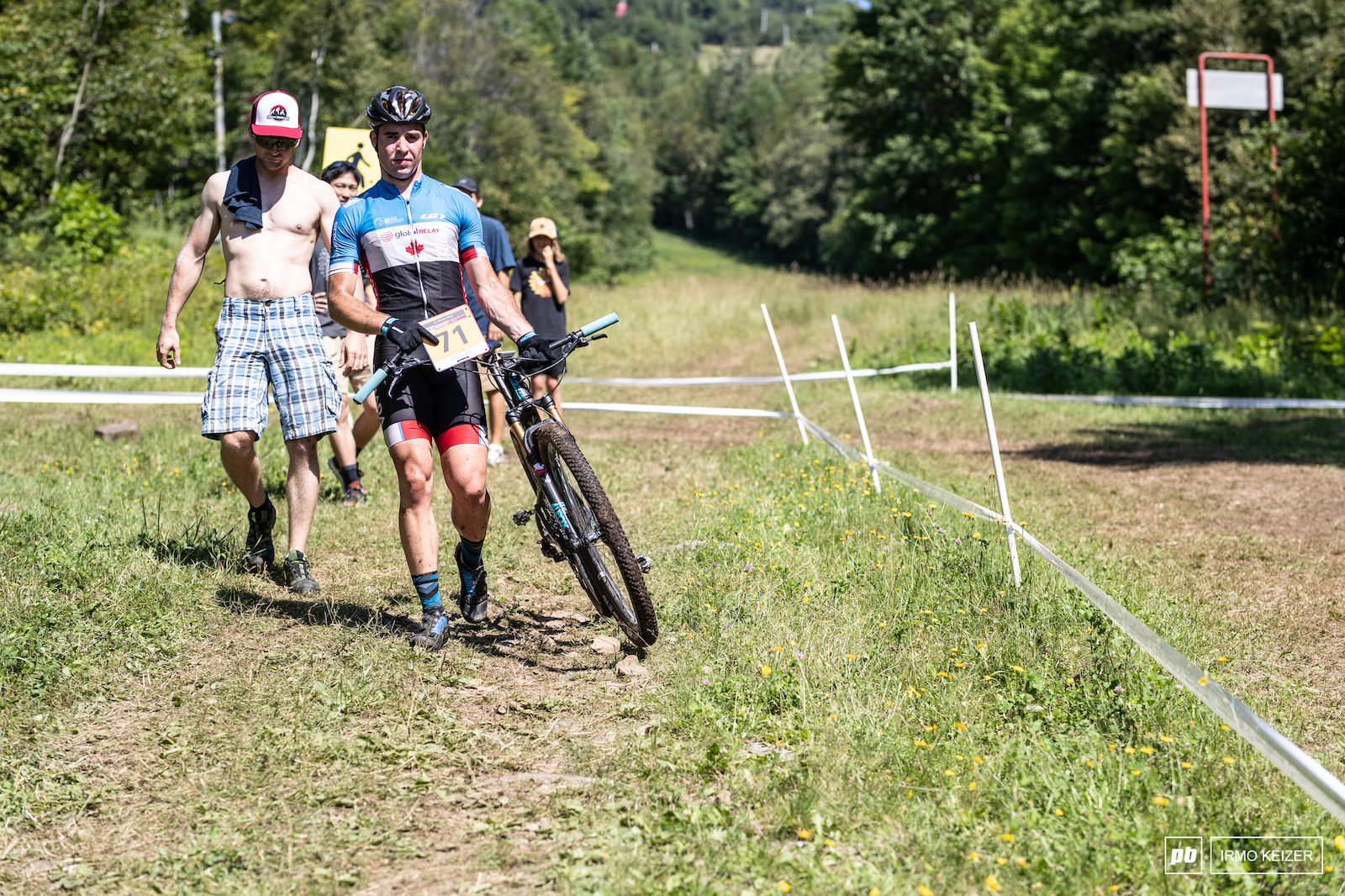 Anthony Bergeron was one of Mont-Sainte-Anne s victims. A broken handle bar ended his race.