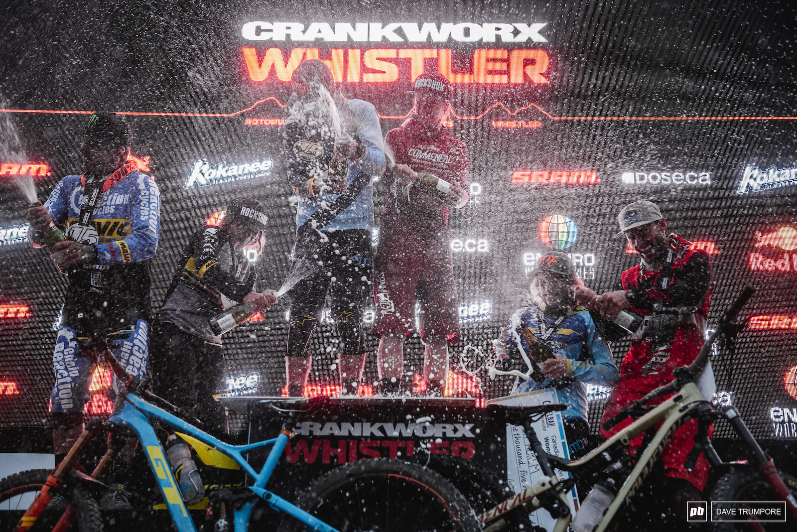 Finally an EWS where the only rain came from the fastest riders on the podium.