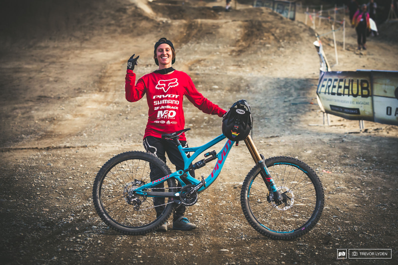 Danielle Beecroft with her Pivot Phoenix. Danni was the only person of the night riding a DH bike.