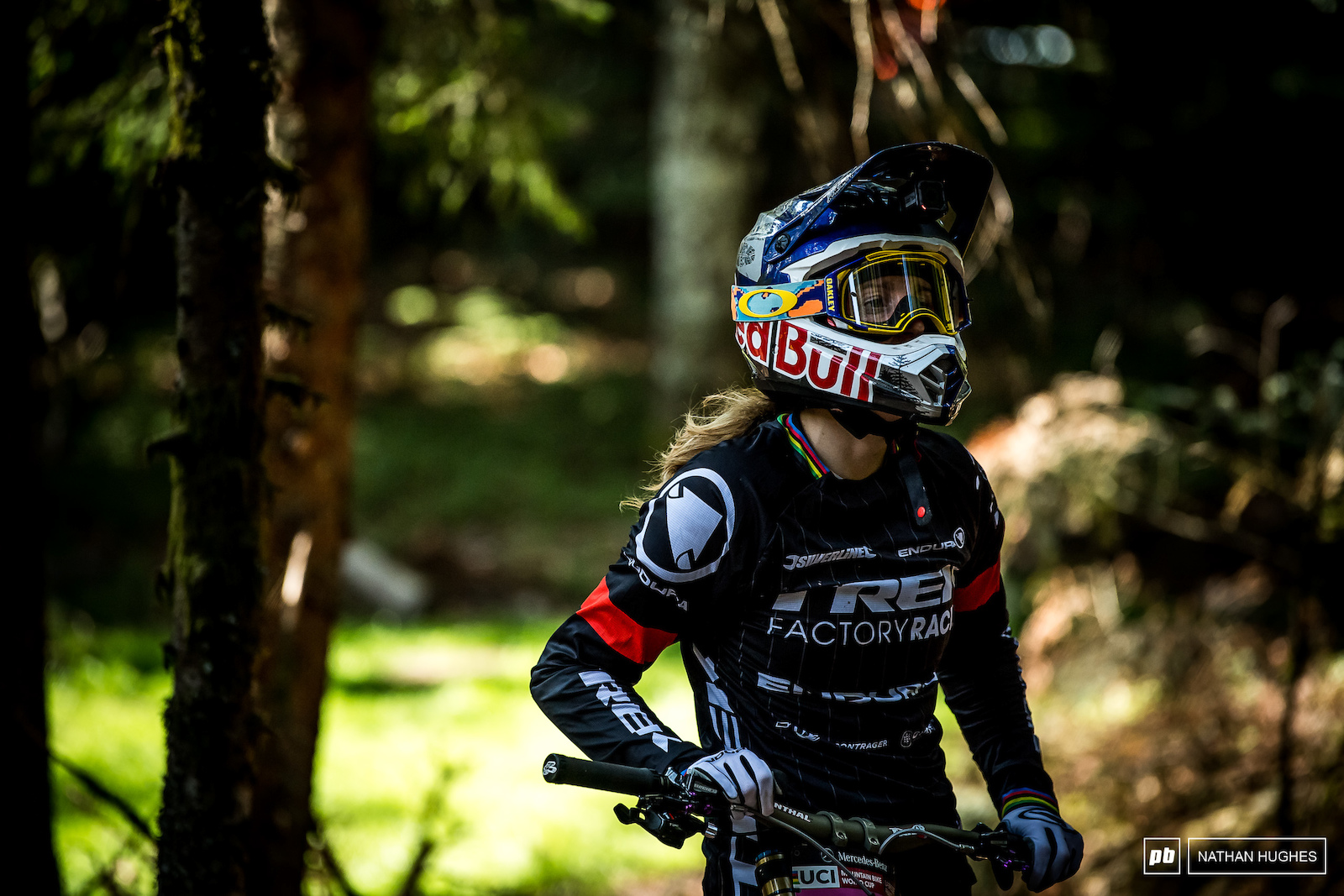 Rachel Atherton trying to find the race line at the close of the timed session.