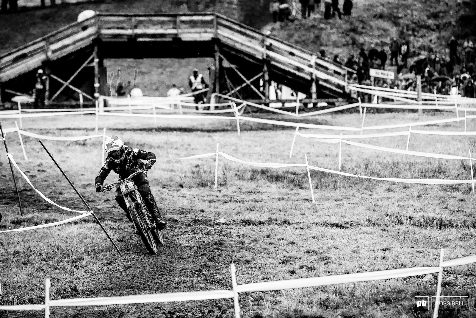 Aaron Gwin pushing to the line after tasting the dirt further up track.