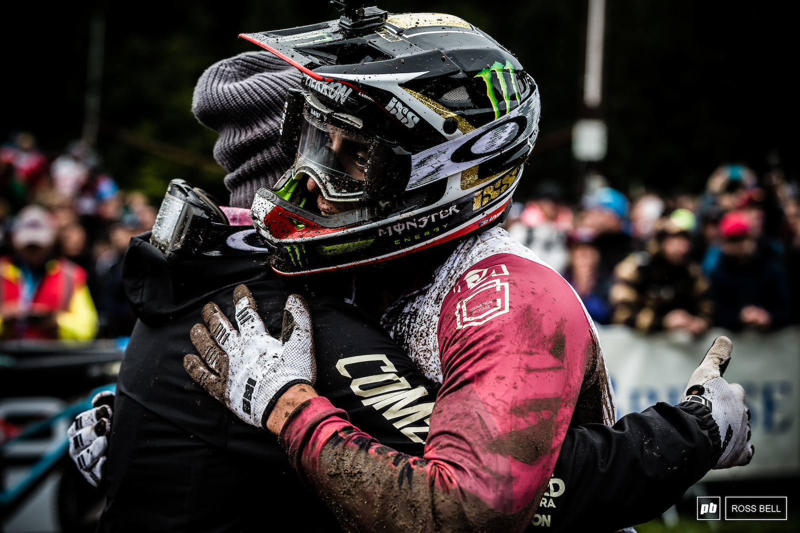 Amaury Pierron congratulates team mate Remi Thirion on a return to the podium.