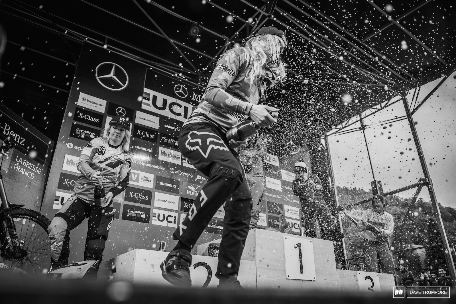 Rachel Atherton Tahnee Seagrave Myriam Nicole Tracey Hannah and Katy Curd let the champagne fly in La Bresse.