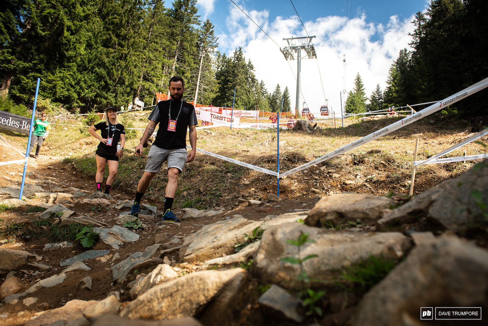 The track in Lenzerheide is getting a bit old and the big rocks are starting to come through in the lower turns.