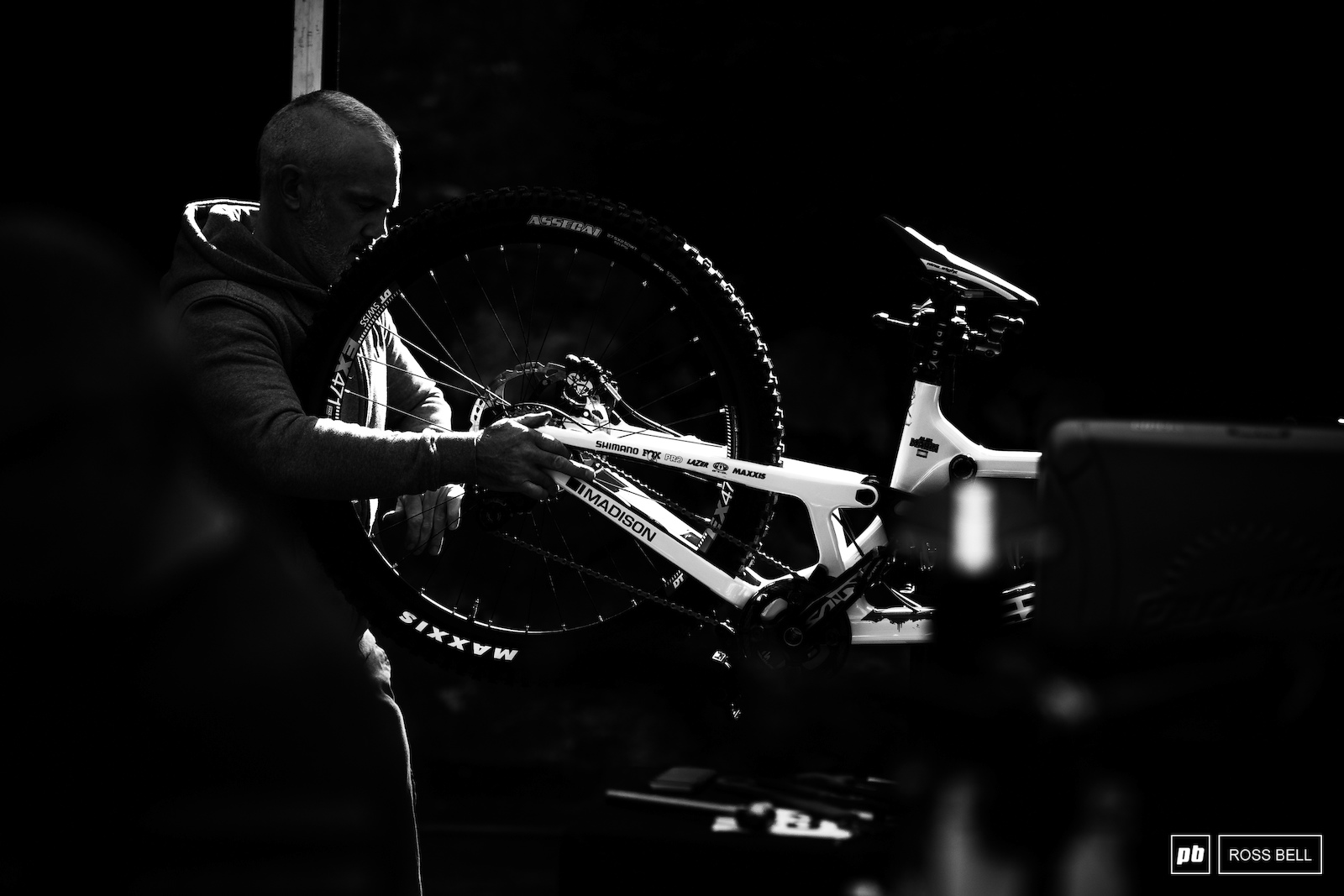Mechanics had a busy morning putting the last touches to their race machines.