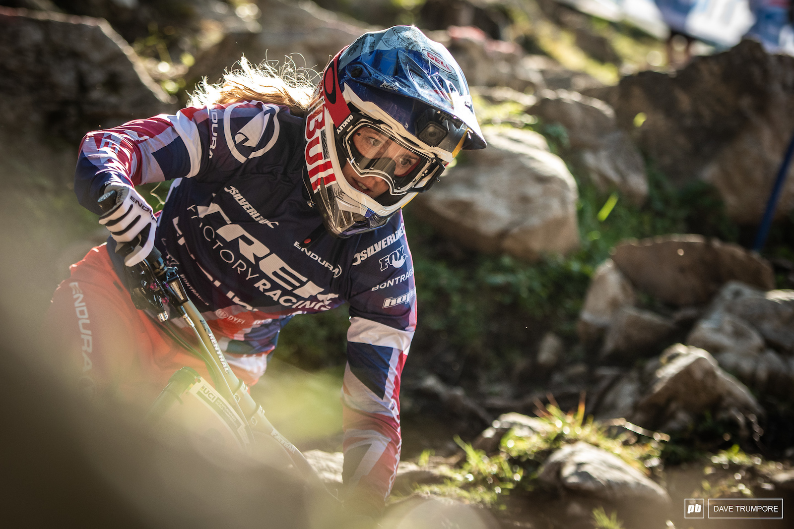 Rachel Atherton took her time scouting lines in the rock garden and was looking smoother than most by the end of training.