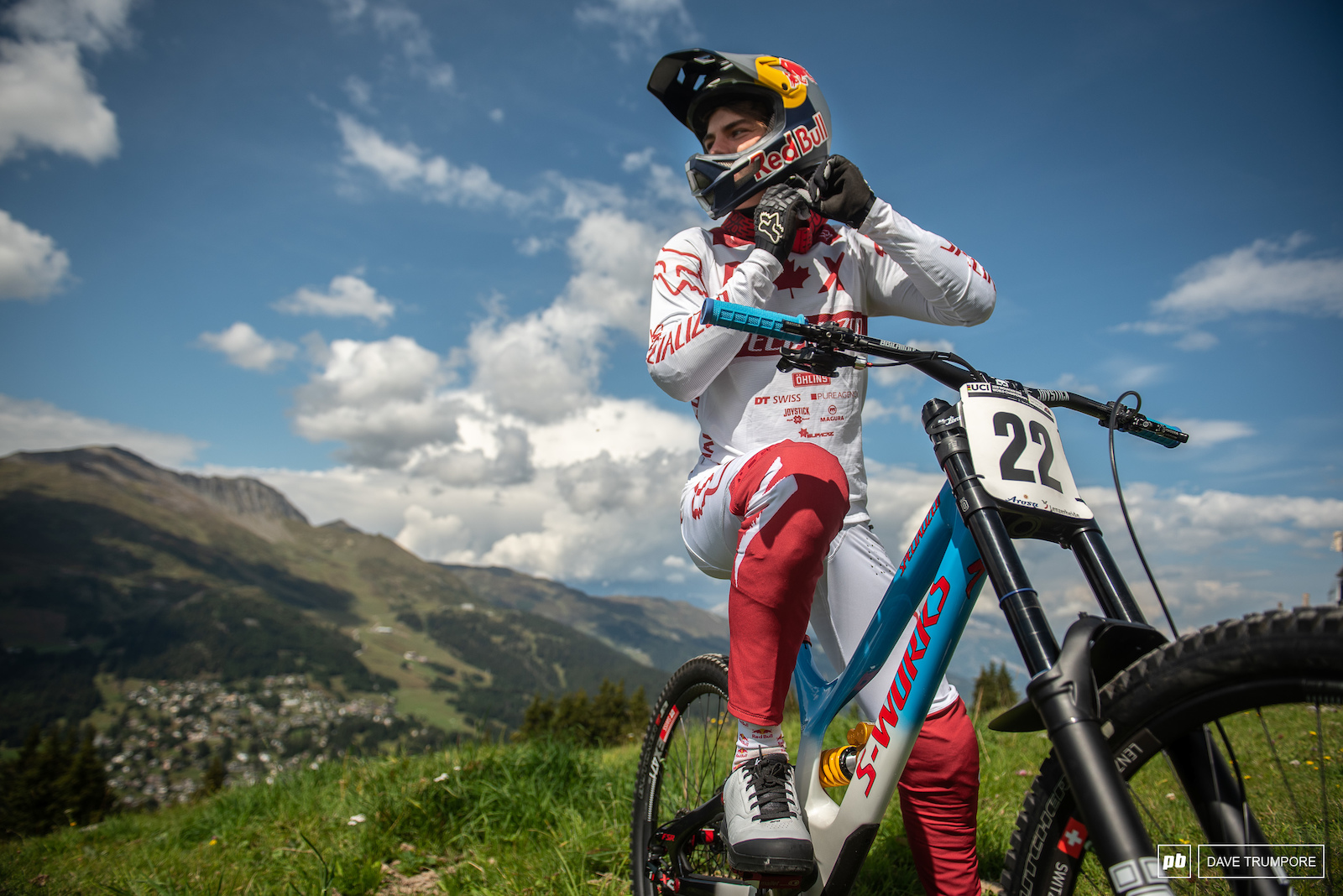 Finn Iles in some custom gear done up in a Canadian flag theme.