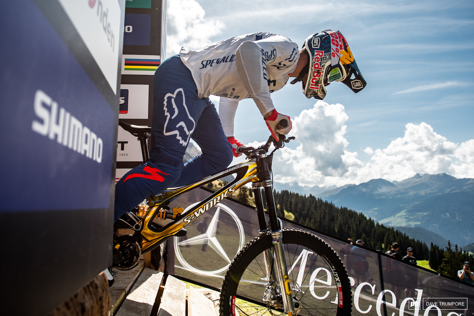 Loic Bruni drops in for the first run in his quest to defend the rainbow jersey.