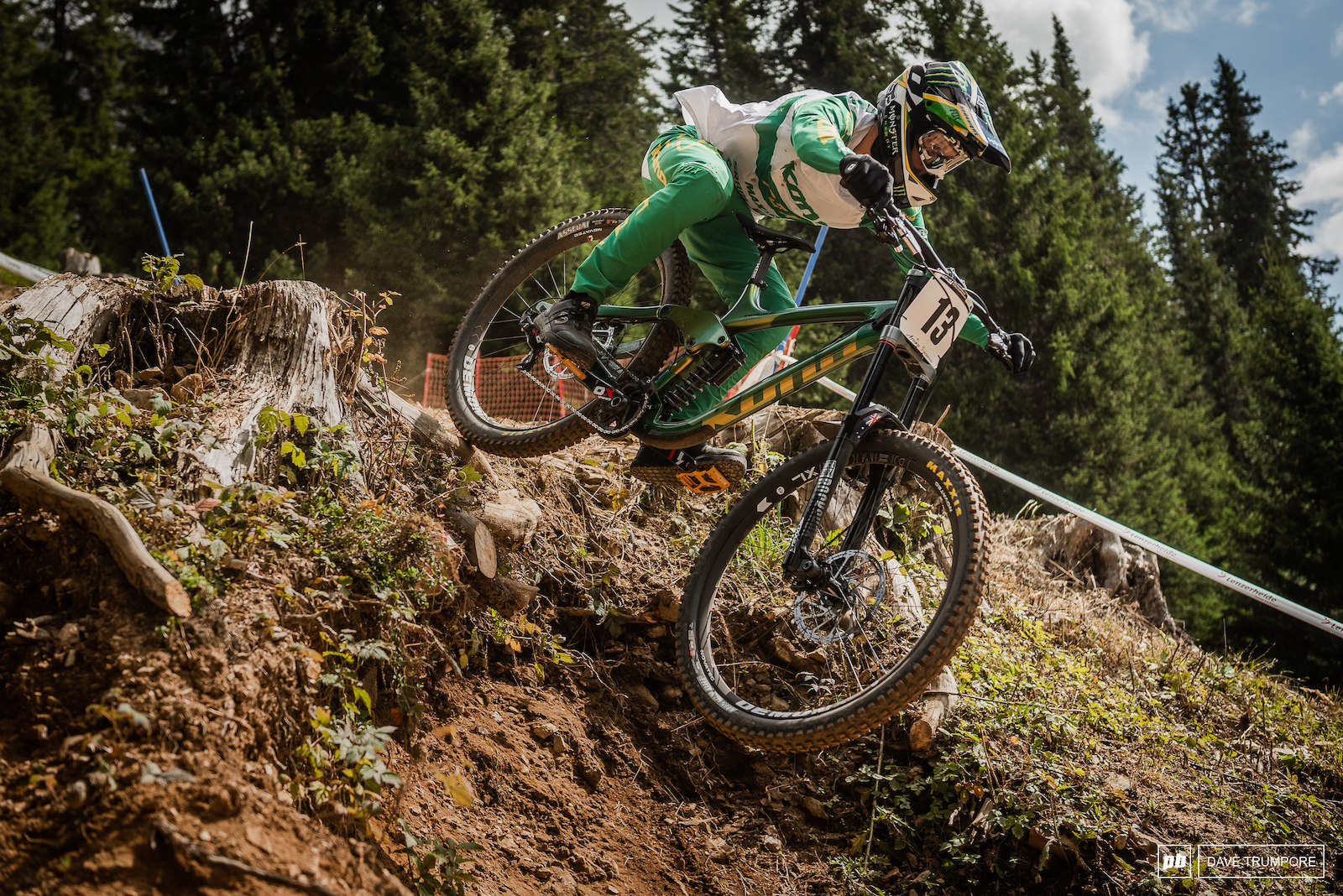 Connor Fearon cuts to the inside off one of the big drops rather than taking the berm along the outside.