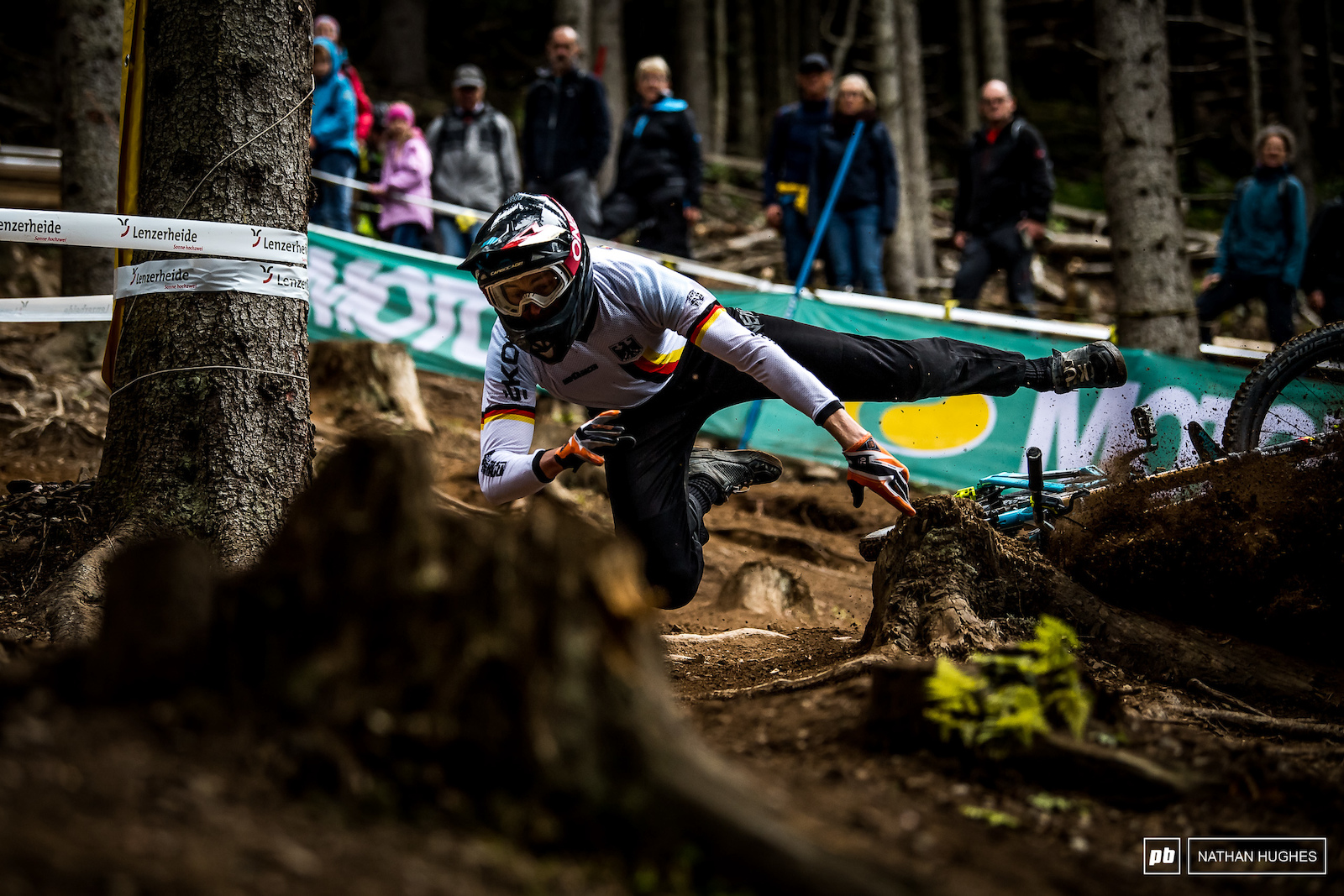 IXS Cup overall winner Joshua Barth bites the dust in the depths of the forest.