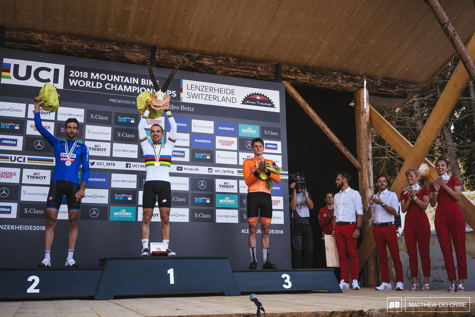 Your men elite podium- Schurter Kerschbaumer van der Poel. Looks like Bart was right on this one.