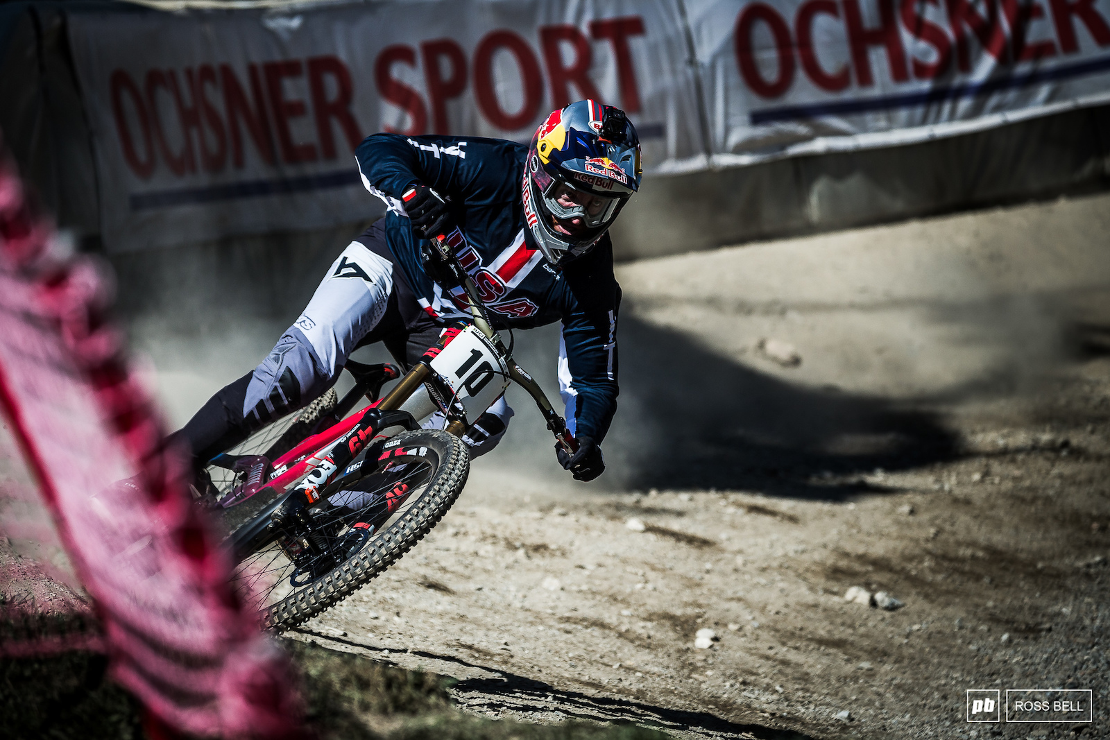 Aaron Gwin rails the final turn with the finish line drop in his sights. Gwin s search for World Championship gold goes on.