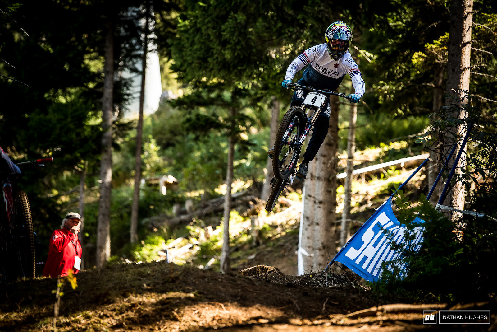 Hart sending the huge gap in the new loam section that few others could find the speed for.