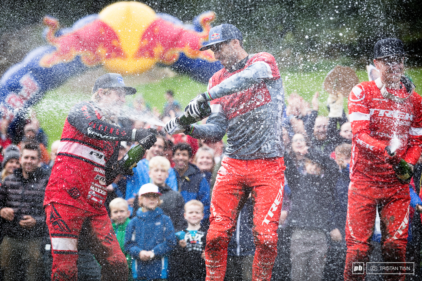 A champagne shower for previous winner Kerr