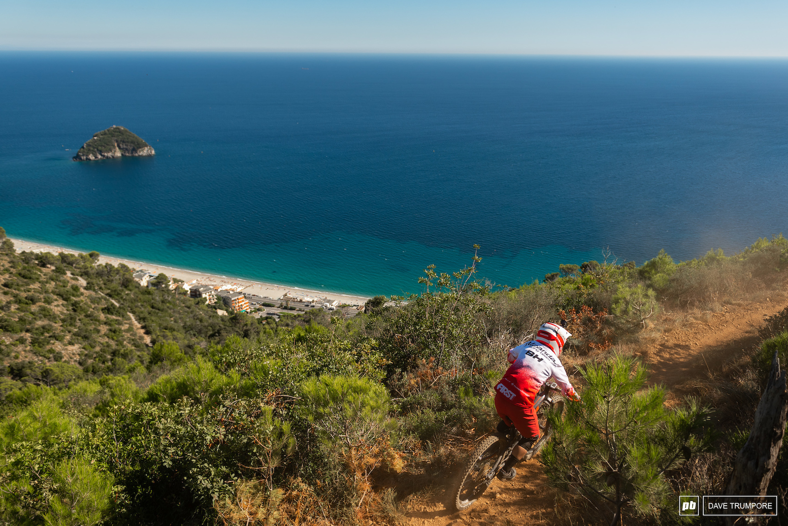 Melanie Pugin navigates a narrow ridge on Stage 3 where riders will struggle not to be distracted by the beautiful views.