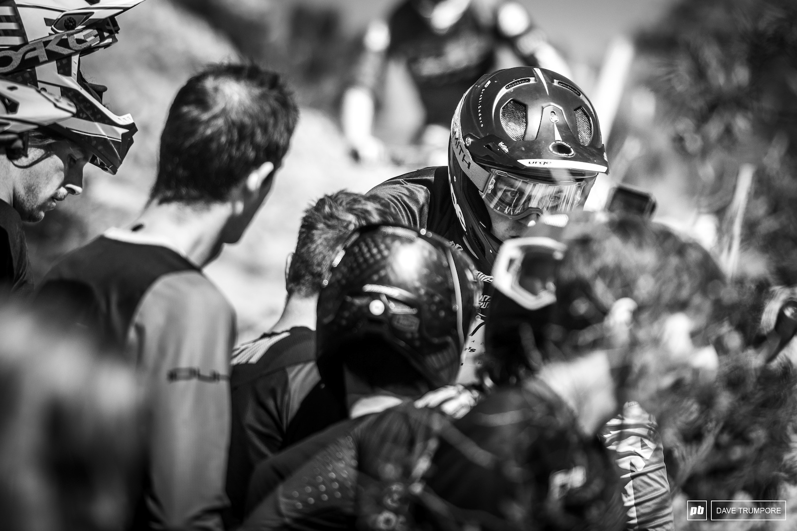 The top of stage 2 was thick with riders in the line as they all jammed into the track to scope out one particular rocky chute. Only when a rider approached would they part like the Red Sea.