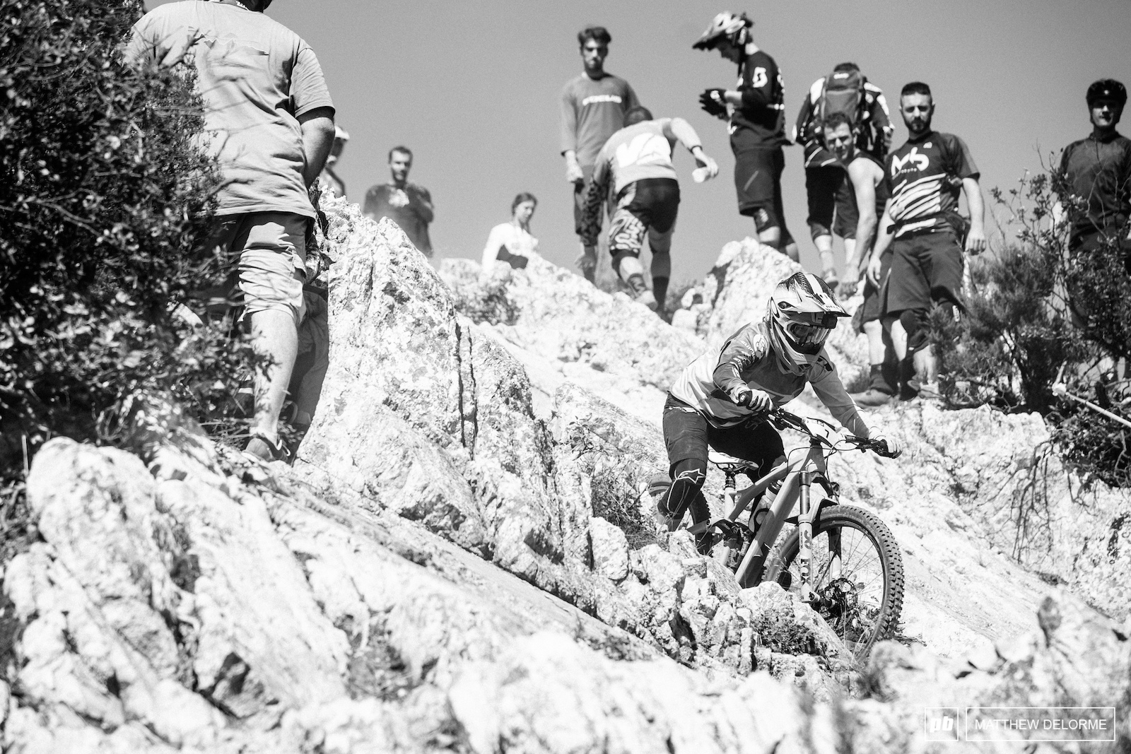 Noga Korem navigates the gnar on the top of stage two.