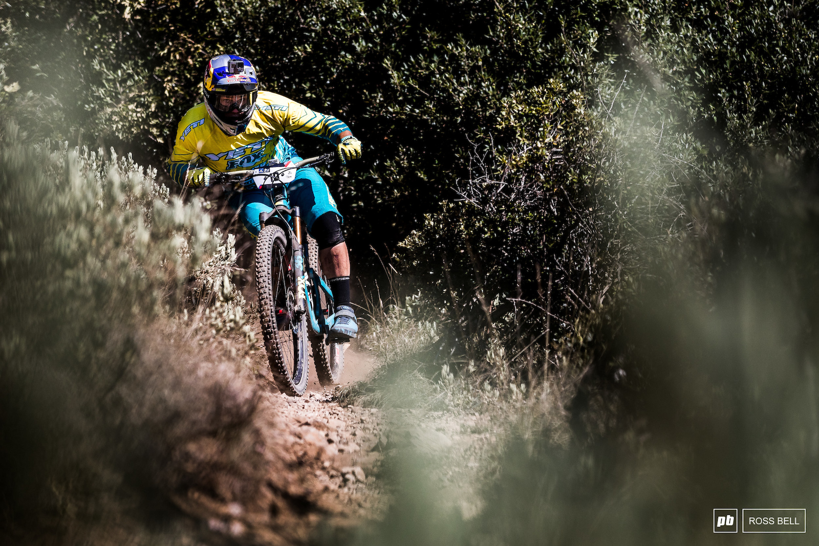 Richie Rude finding the limits of the loose gravel on stage 2.