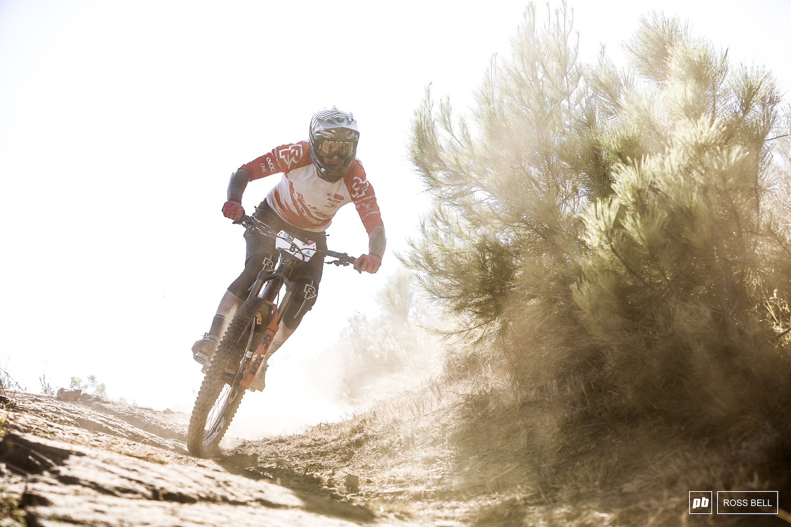 Remi Gauvin powering through the dust lingering in the air.