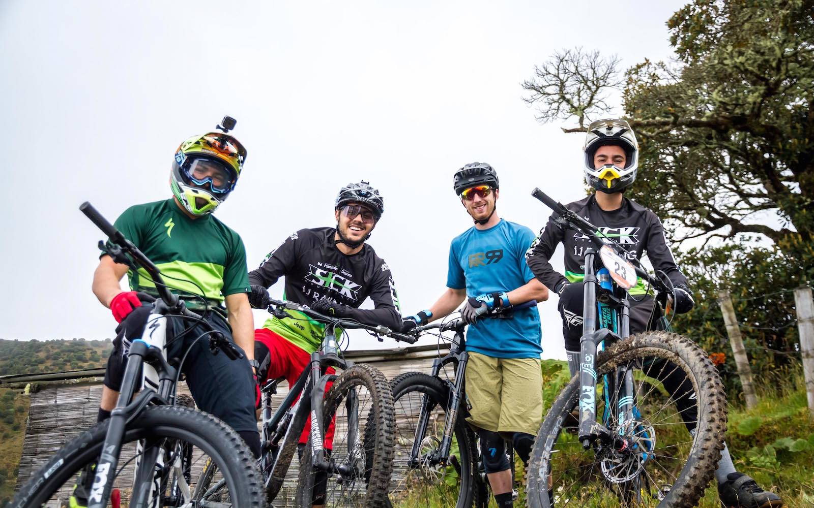 Such a strong crew ready to drop in on the Hoyo Frio trail.