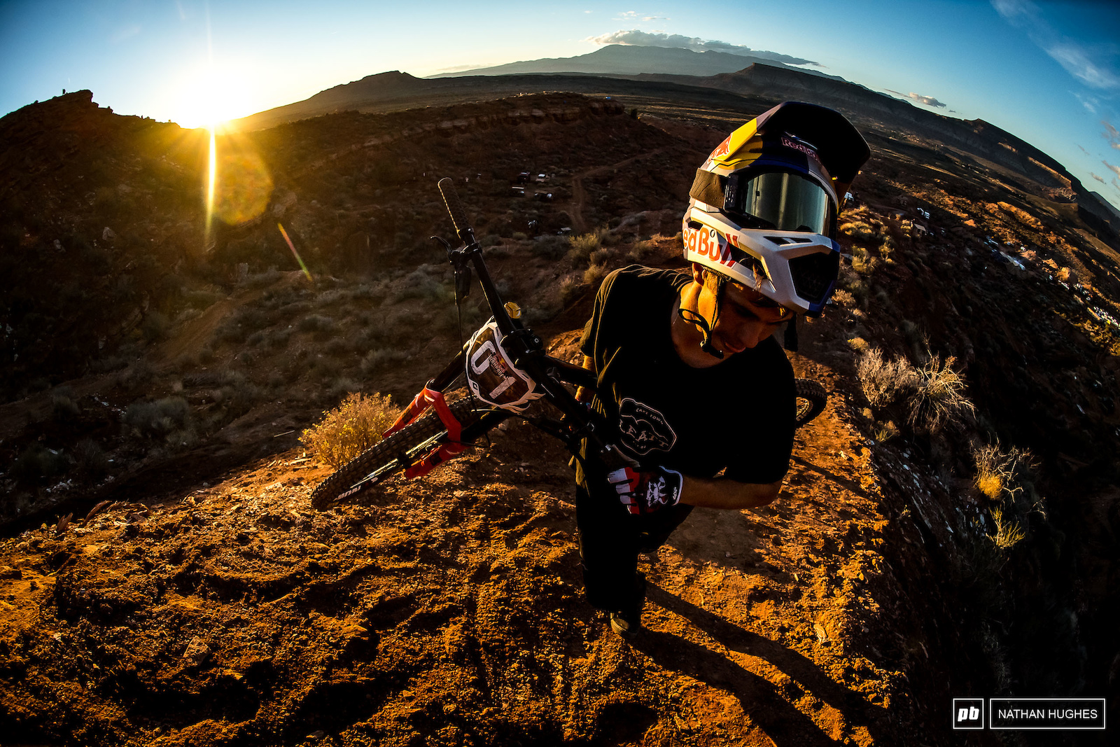 Szymon Godziek hiking up for a couple of hits before dark.