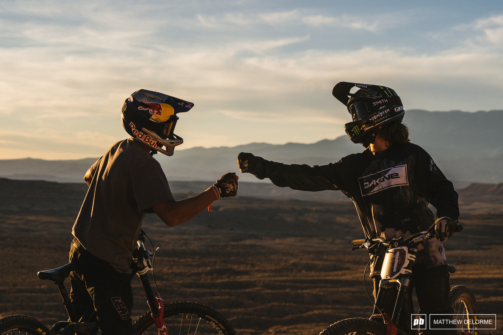 Fist bumps at the end of another long day in the desert.