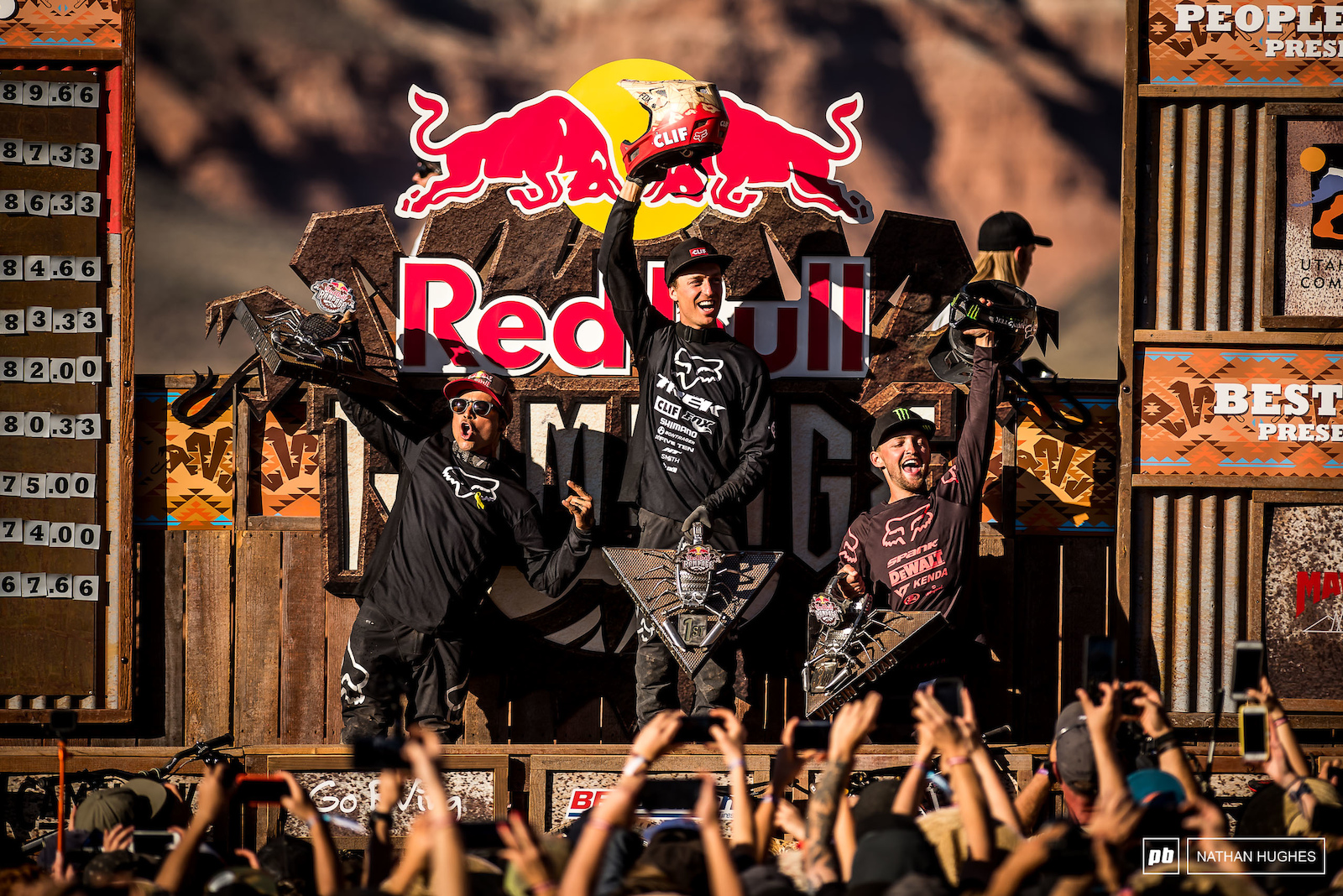 A full Fox podium of Rheeder Lacondeguy and Nell doing the business here at the 13th Rampage.